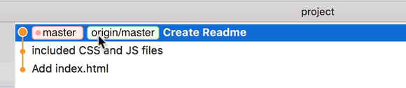 Git history updated. `origin/master` is also on the 'Create Readme.md' commit