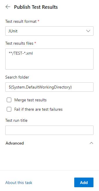 Publis Test Results task