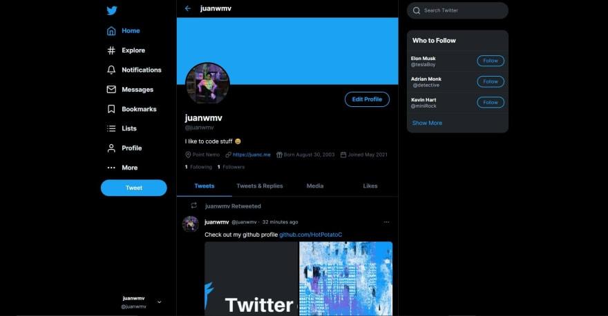 twitter clone profile