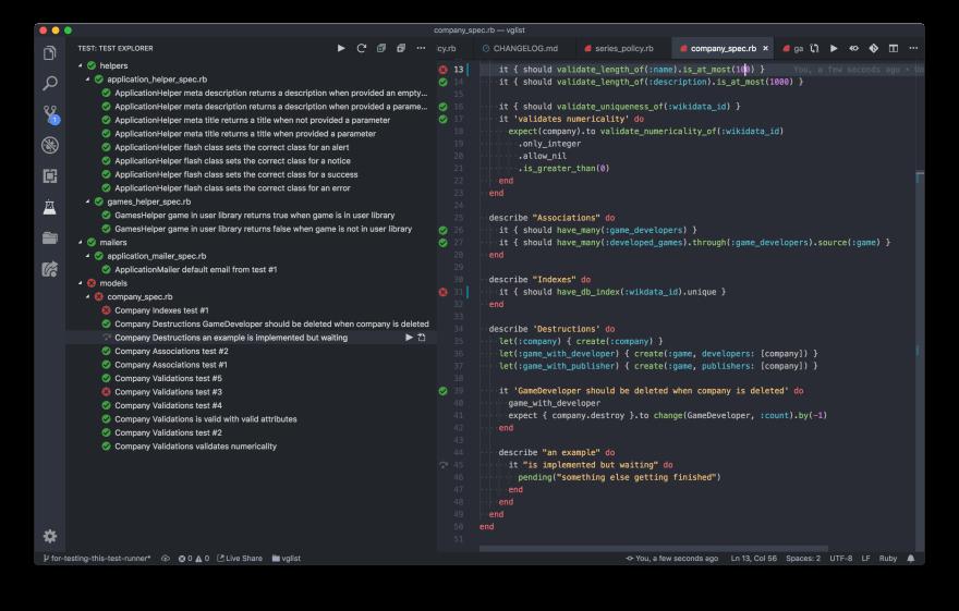 Ruby Test Explorer Screenshot