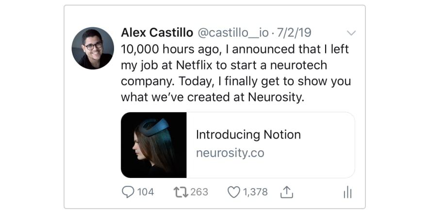 Tweet Introducing Notion