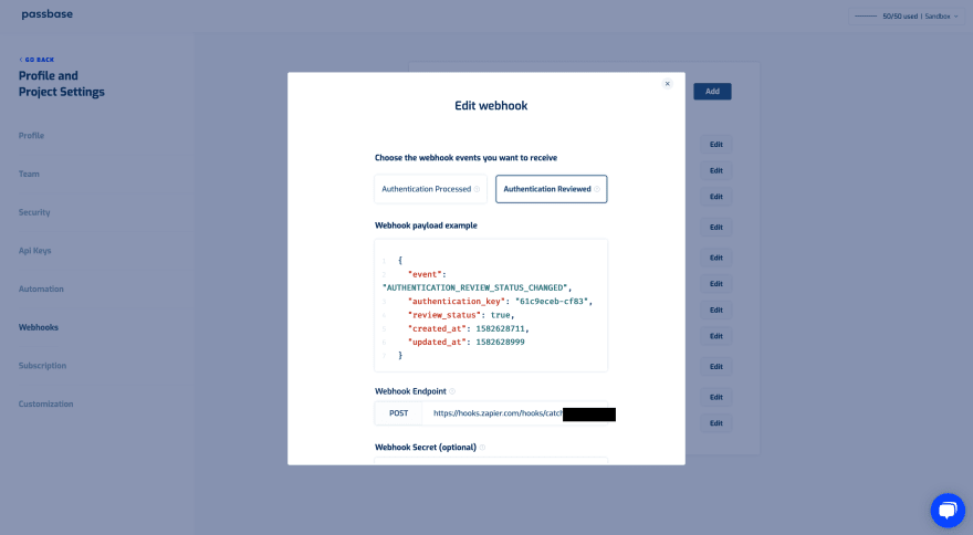 Webhook section of the Passbase dashboard with a popup displaying webhook information