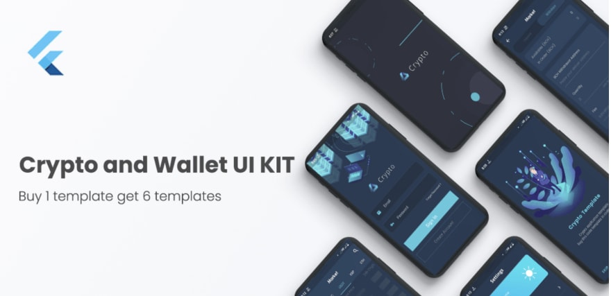 Crypto Wallet UI Kit Template Flutter.