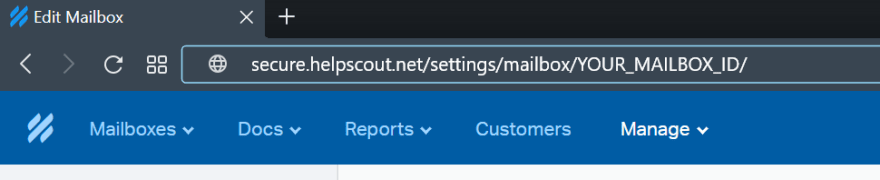 Firefox's address bar with the URL ending in your mailbox id.