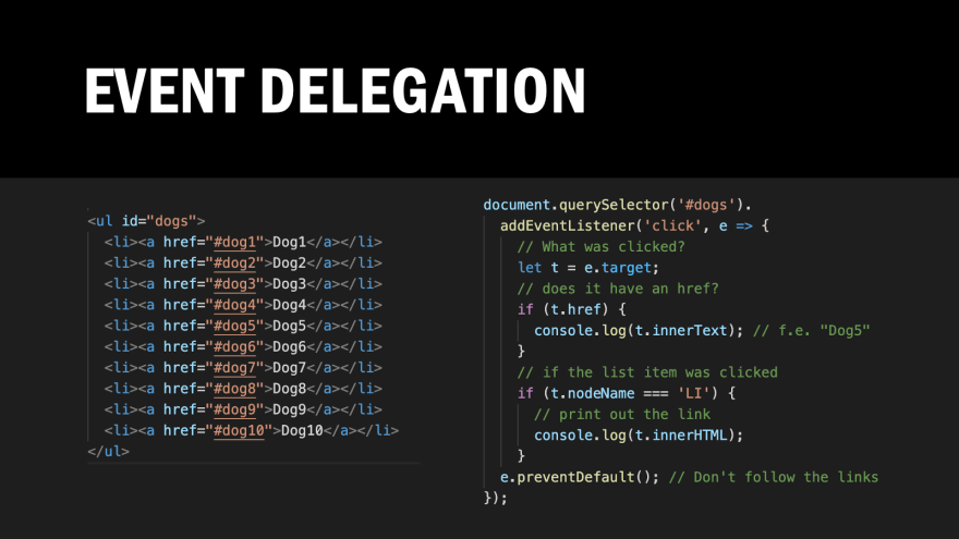 Screenshot of the event delegation example code