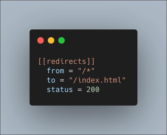 netlify toml code snippet