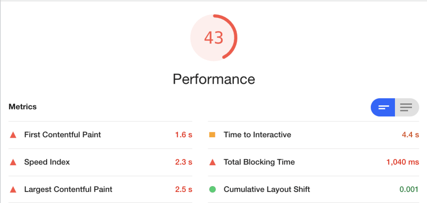 lighthouse performance screen after migrating to nextjs
