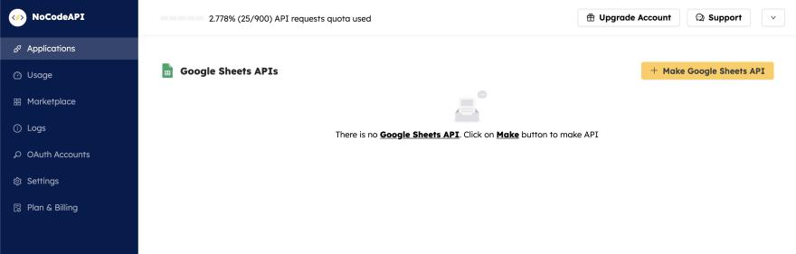 Google Sheet Setup page