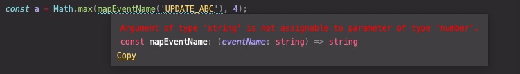 Function intellisense incompatible type