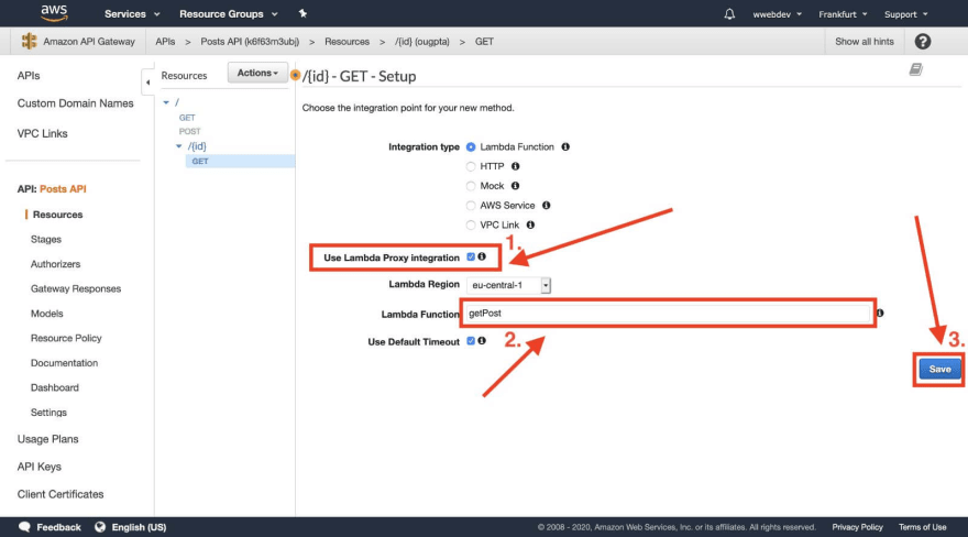 API Gateway create get by id endpoint