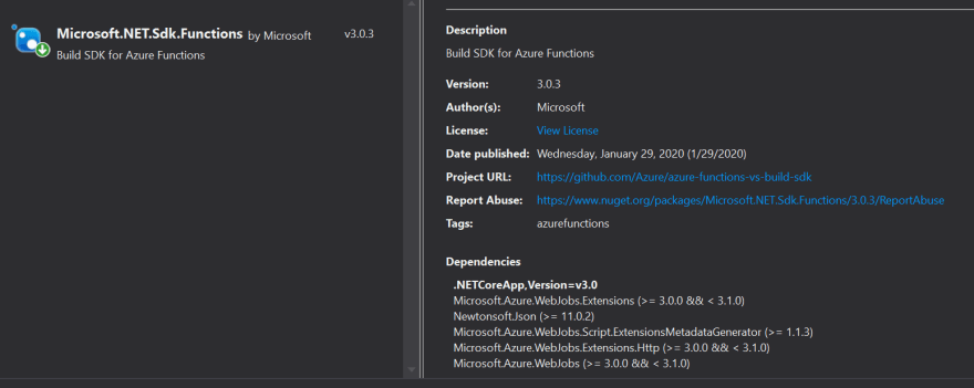 NuGet version for Azure Function