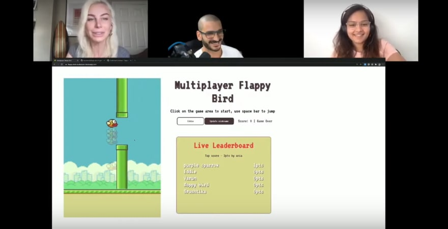 Multiplayer Flappy Birds, live gameplay on YouTuber Eddie Jaoude's channel