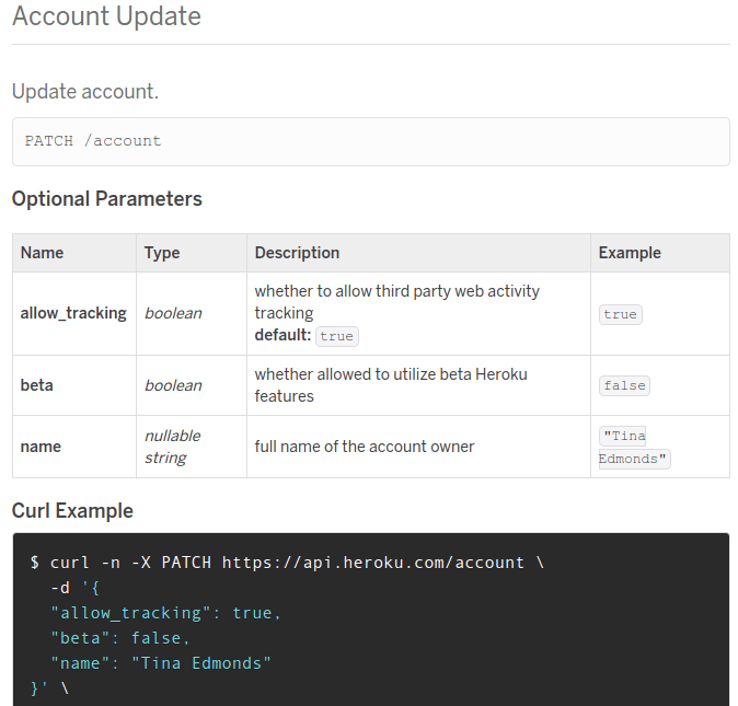 Heroku's API documentation is clean, organized, and gives developers everything they need.