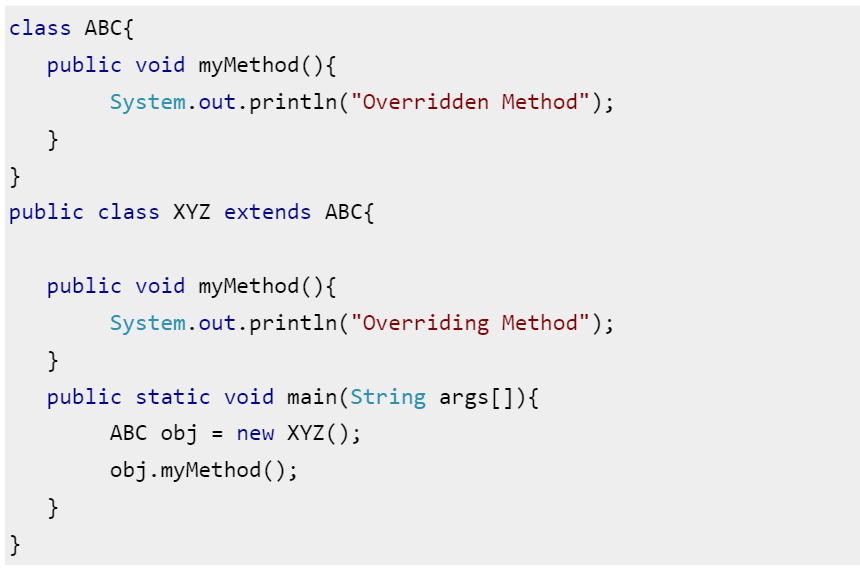 Code Snippet for Overriding
