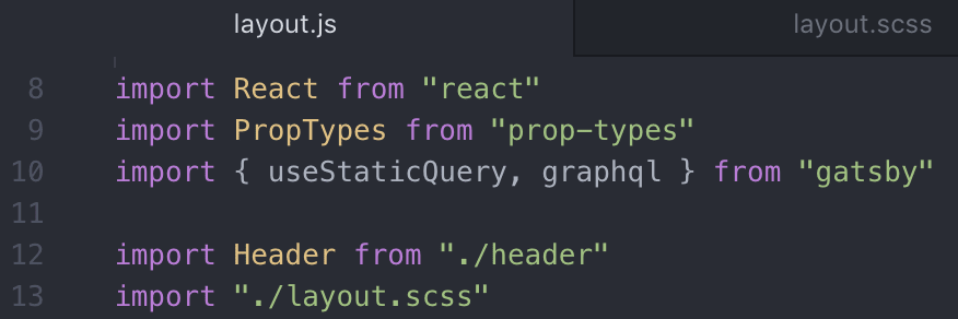 adjust import file name to scss in layout.js