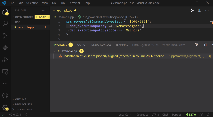 A VSCode window displaying the Problems Pane with only one warning