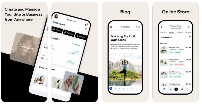 React Native apps: Wix app screenshots
