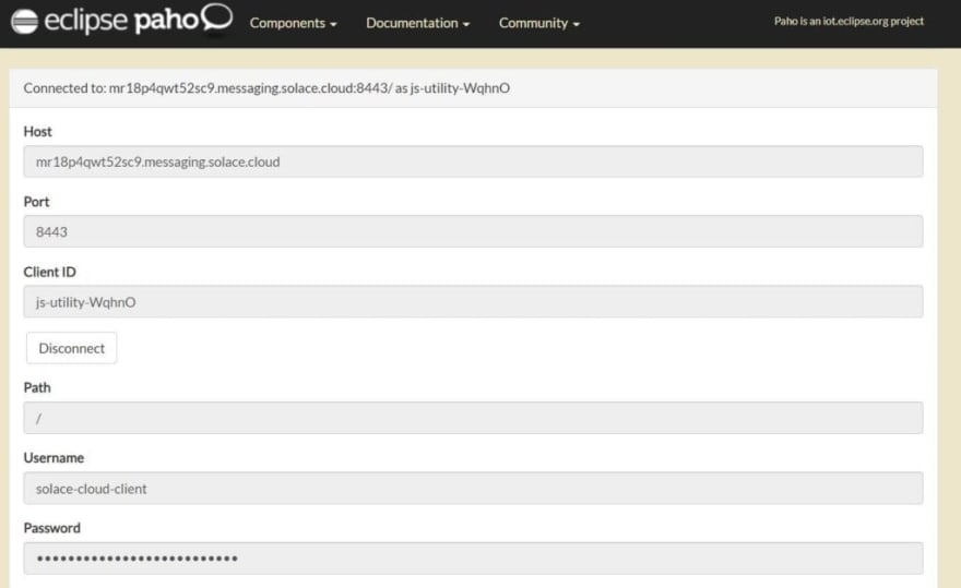 Screenshot from online hosted JavaScript-over-WebSocket MQTT utility by Eclipse Paho