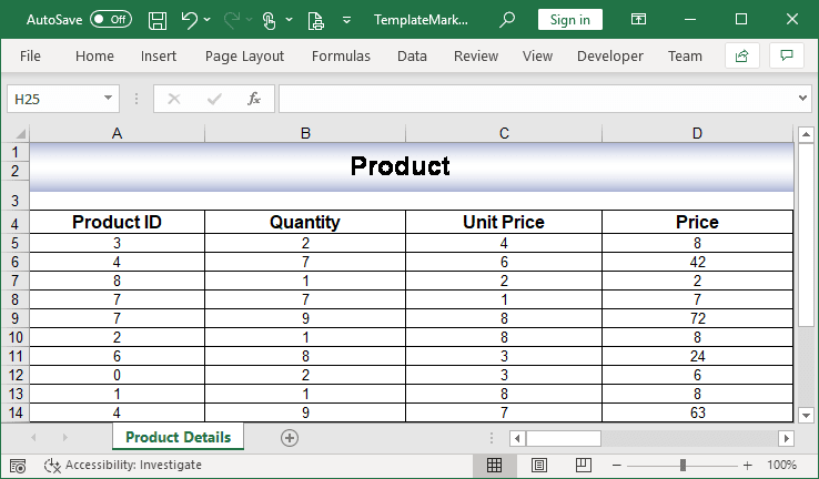 Data exported into Excel worksheet with formulas