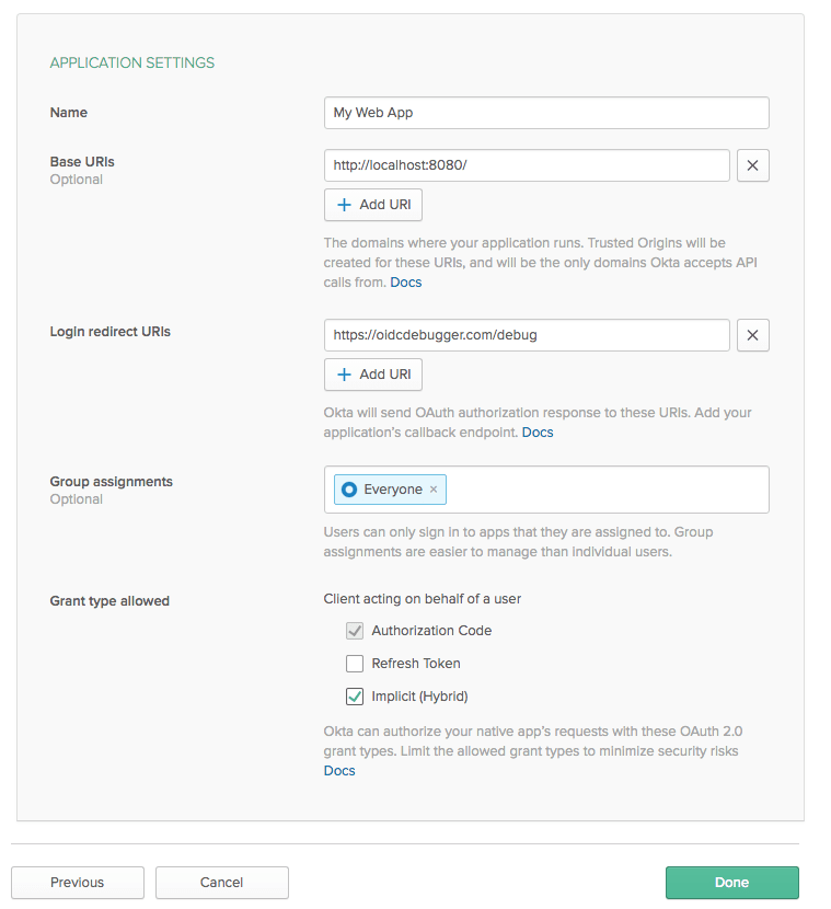 OIDC Application Settings