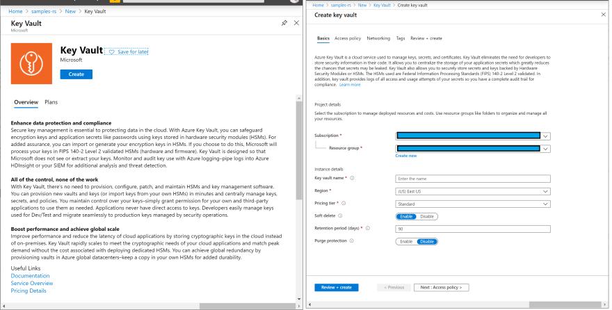 Key Vault creation screen on Azure Portal