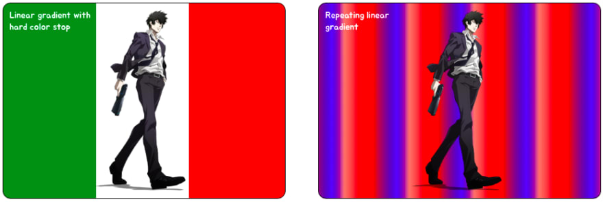 CSS Gradients - Linear gradient with a hard stop and repeating linear gradient