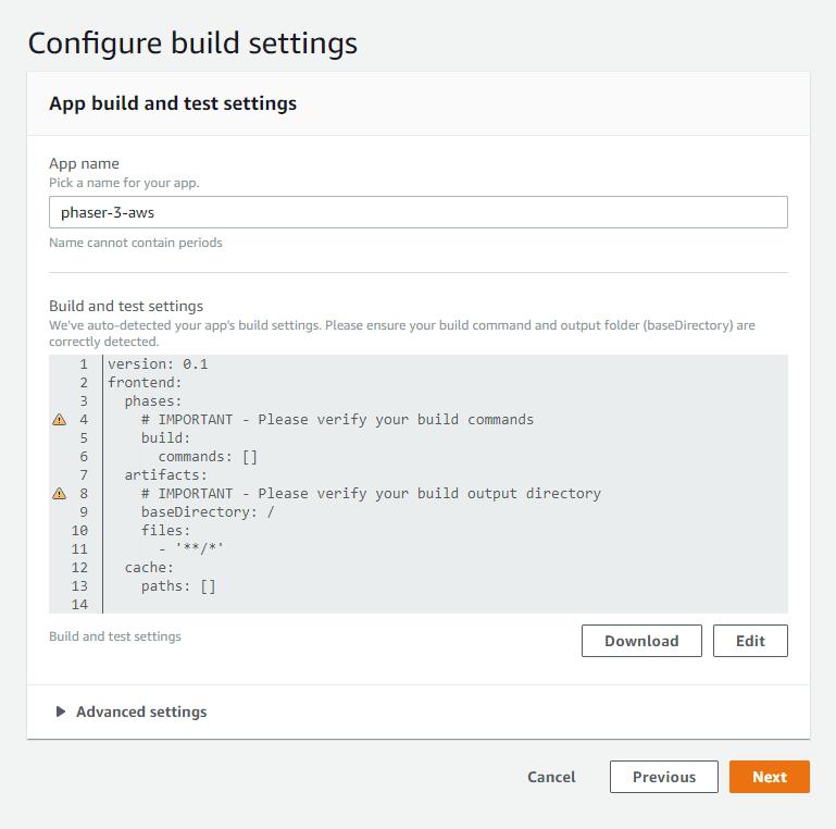 Amplify Configure build settings view