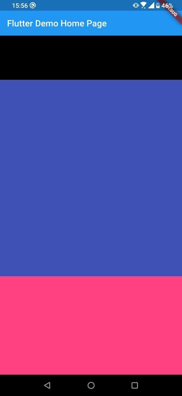 Aplicativo com 3 retangulos, o primeiro sendo preto e menor, os outros dois sendo de tamanhos diferentes, o segundo sendo o dobro de tamanho do terceiro, o maior tem cor azul e o menor tem cor rosa
