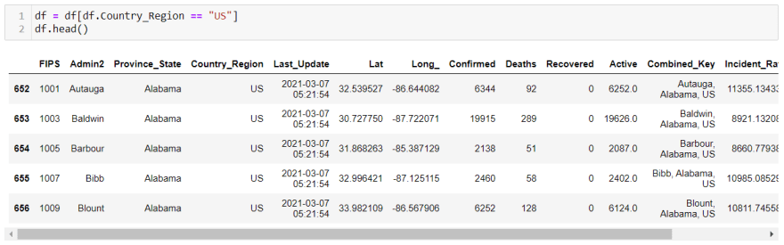 updated dataframe