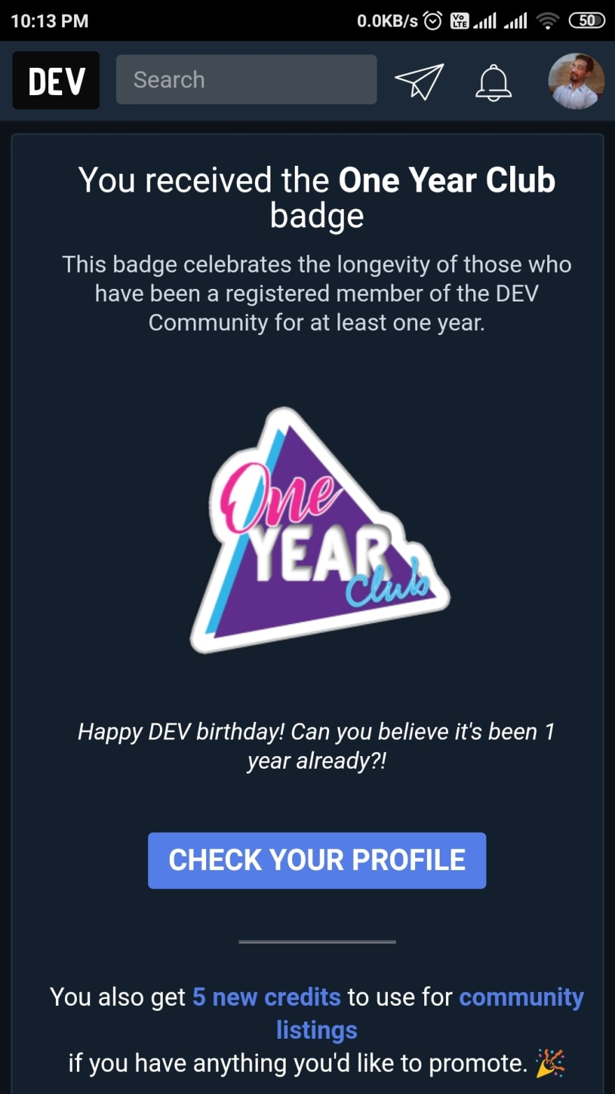 One year Dev badge