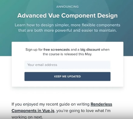 Advanced Vue Components Langing Page Example