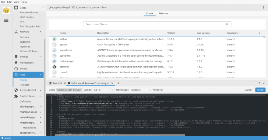 Install Kubecost in the kubecost namespace