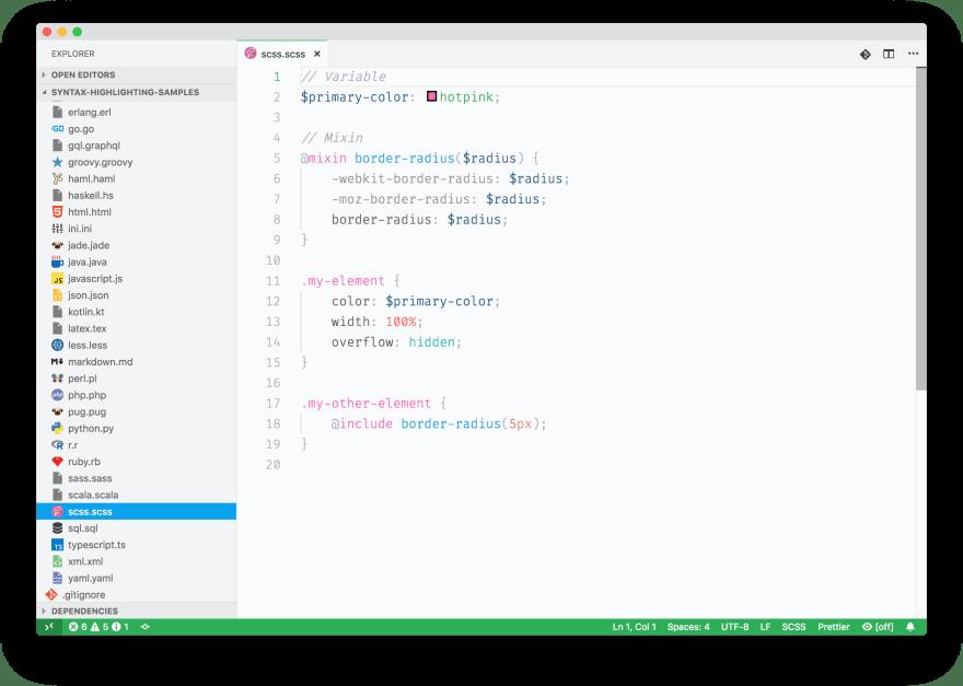 Screenshot of some Sass sample code