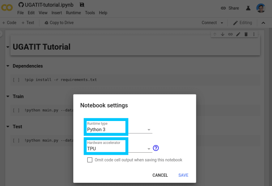 Google Colab change notebook runtime