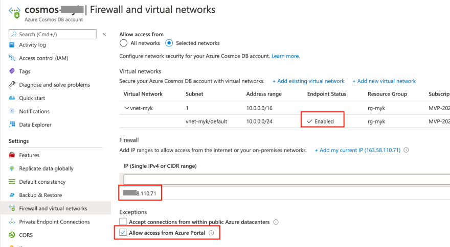 Firewall and virtual networks settings
