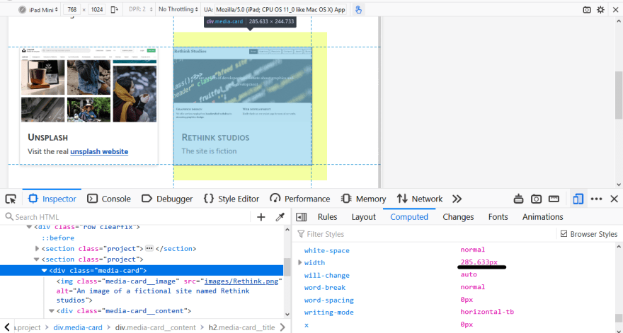 The effect of the max-width property as shown in Firefox developer tools when the computed browser styles are displayed and the device viewport is scaled to tablet view