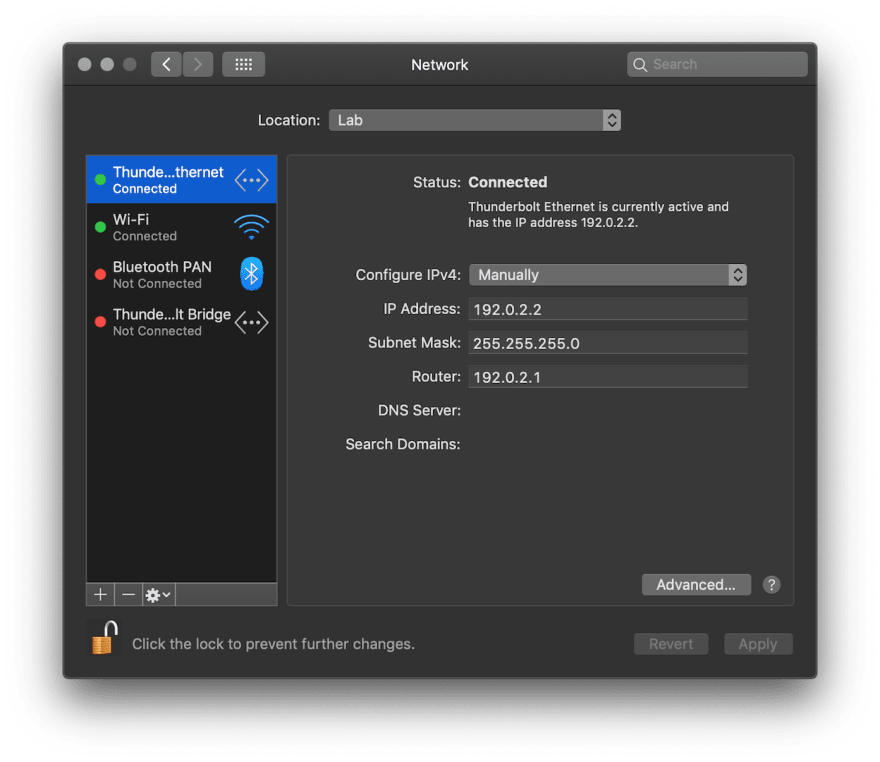Configuring a static IP on macOS