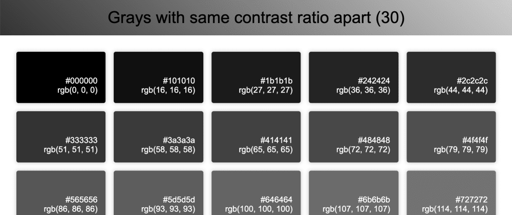 Cover image for Grayscale Color Palette with Equal Contrast Ratios