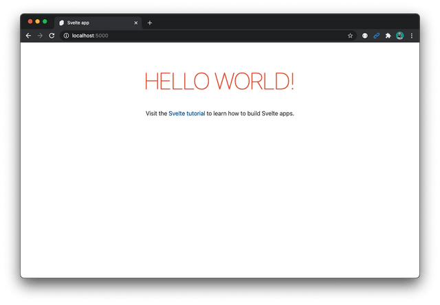 Default Svelte starter screen