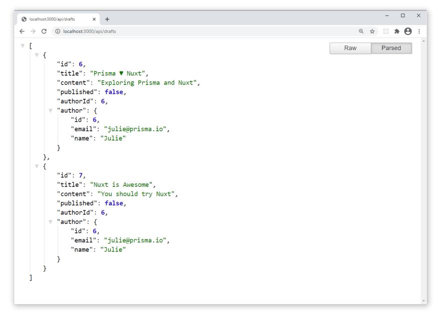 Nuxt app - draft posts