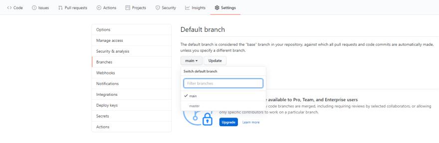 Github branches tab