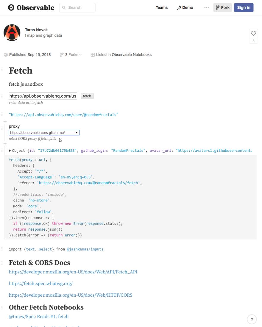 Observable Fetch JS Notebook