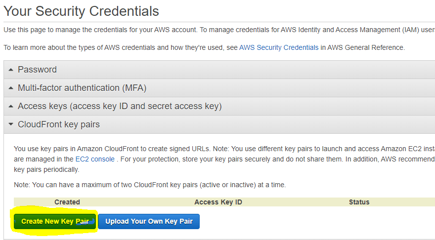 CloudFront Create New Key Pair