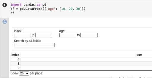 Interactive pandas dataframe output