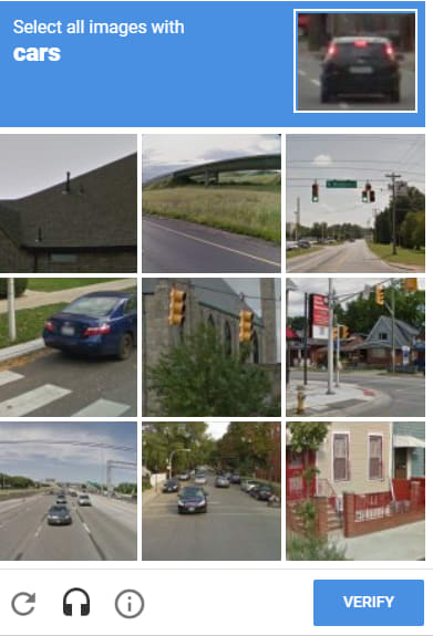 A recaptcha prompt asking the user to select all images with cars.<br>