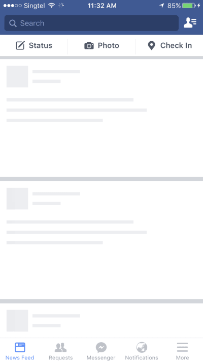 Empty Facebook with skeleton UI
