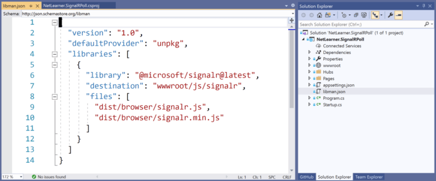 Visual Studio, showing libman.json with client-side references