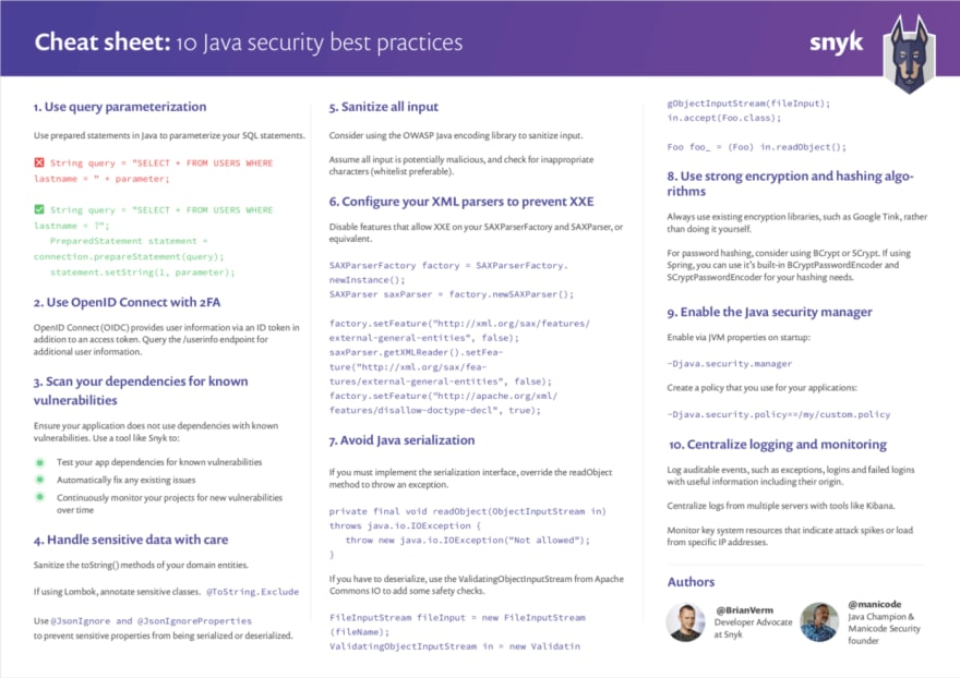 10 Java security best practices