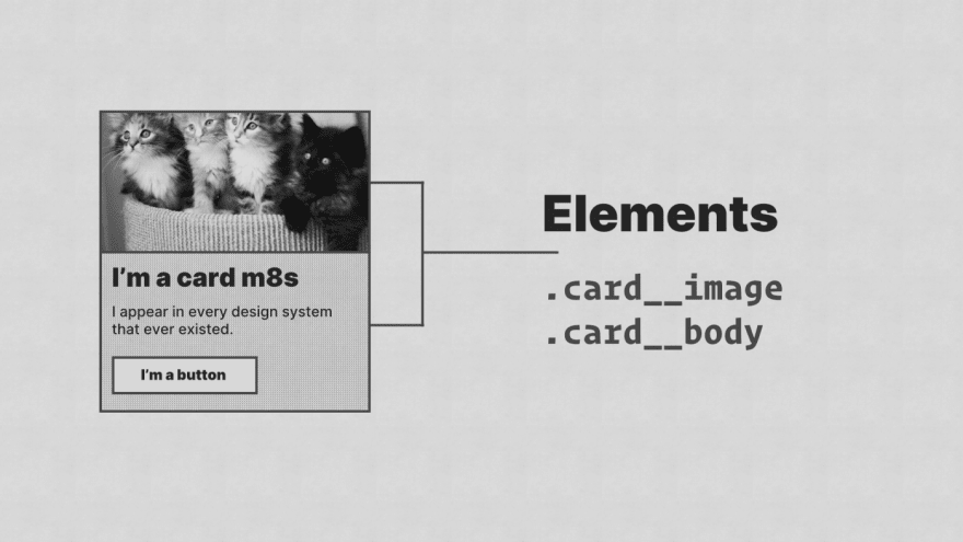 A card component with two elements, '.card __image' and '.card__ body' labeled