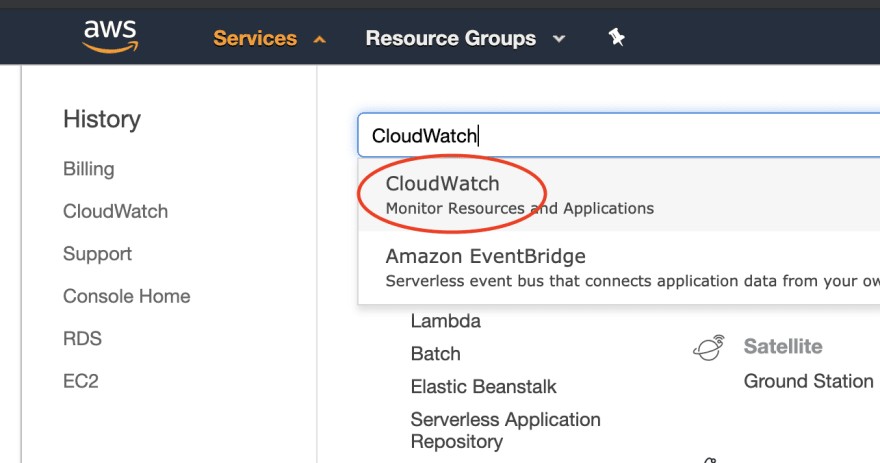Image of AWS console CloudWatch service